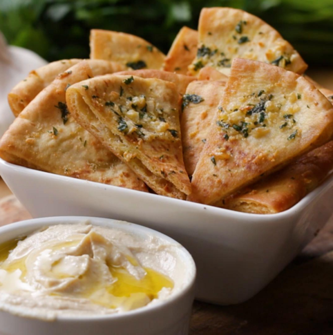 Homemade Pita Chips - 4 Ways - Garlic Parmesan